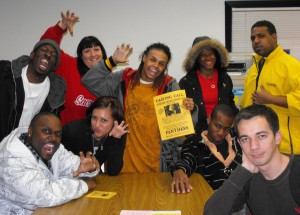 The P.A.N.T.H.E.R.S. club members show their pride Feb.17 in the Cultural Awareness Center. (L) Marz, Jenilyn Anderson, Roman Hodge, Ariel Moreno, Justin Carter, Michelle Cowling-Williams, Dwight Taylor, Marques Davison, and Slavic Palenyy. photo by Monica Lungu