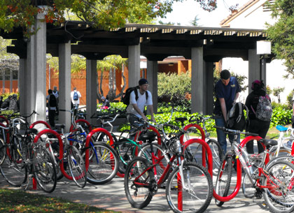 Students park and lock their bikes at the main quad bike racks. Photo by Monica Lungu.