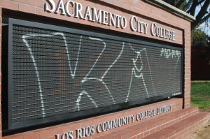 City College sign vandalized