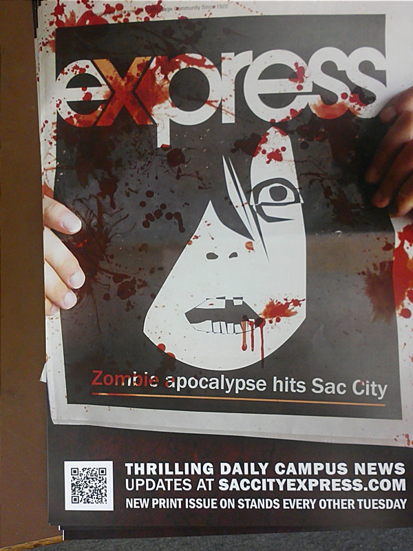 Poster of an illustrated face with blood dripping.