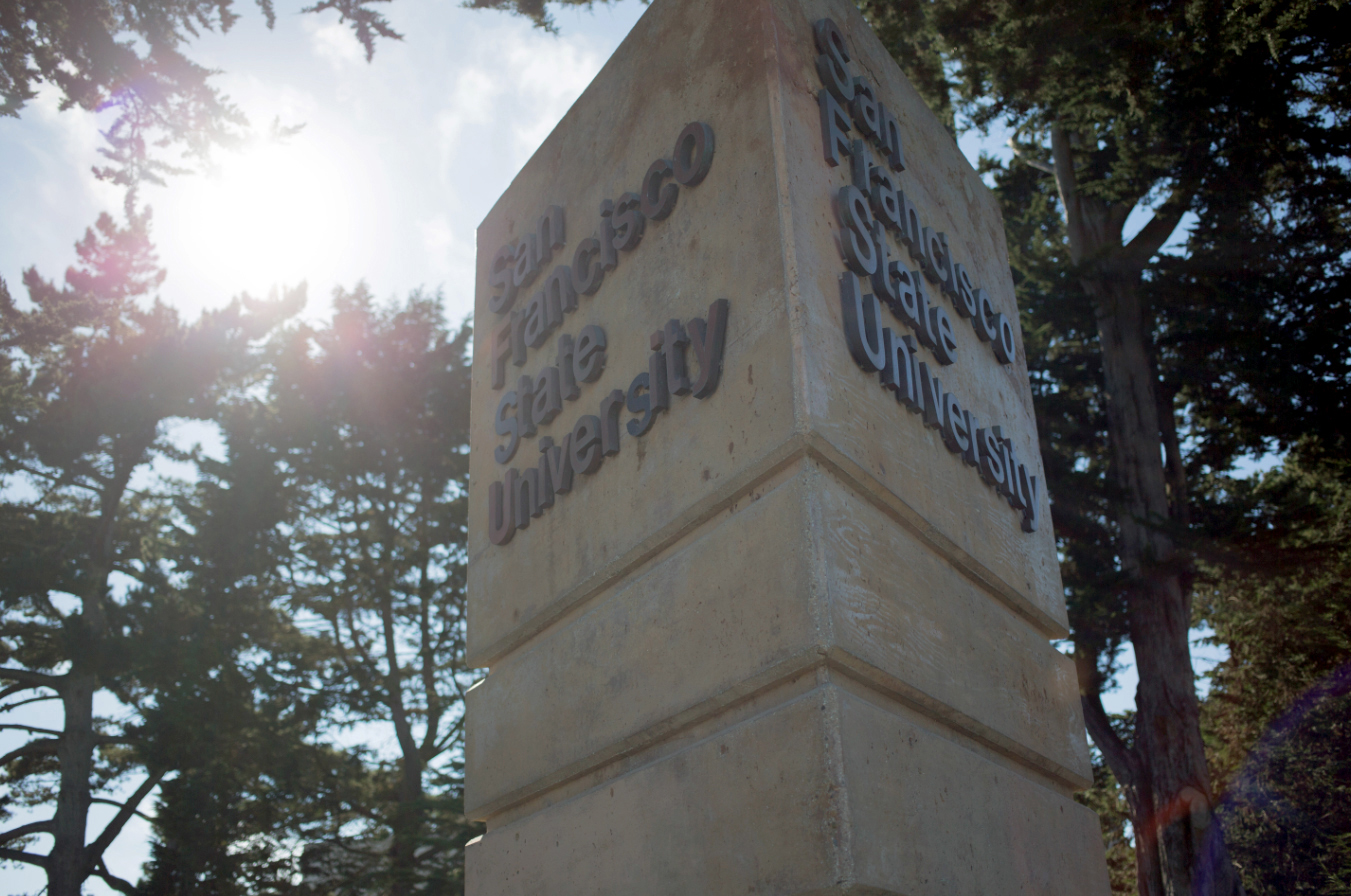 A column with the lettering San Francisco State University.