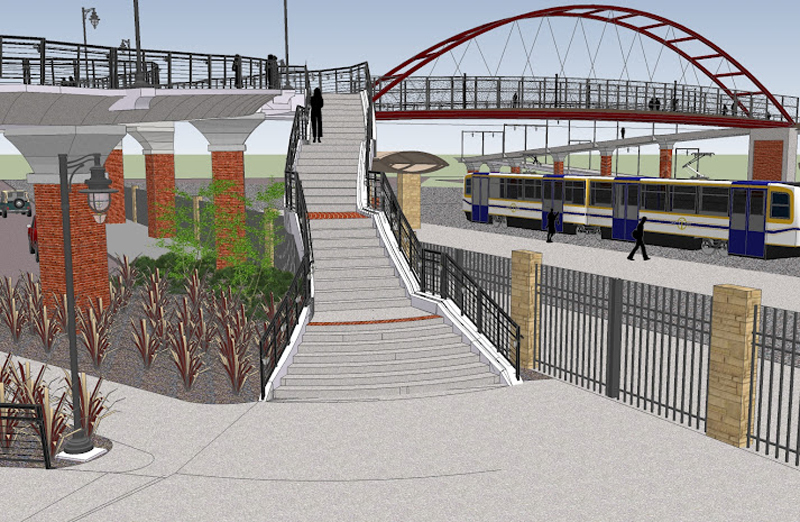 An artist's rendering of the new SCC pedestrian bike bridge