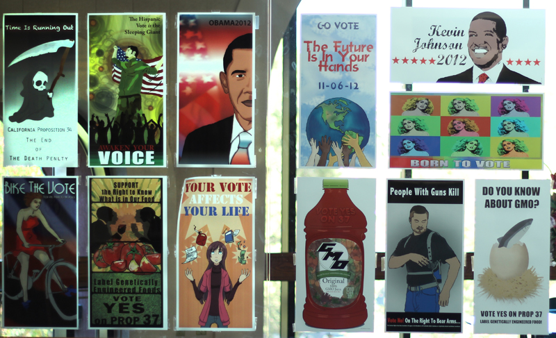 Posters created by students for the upcoming elections.