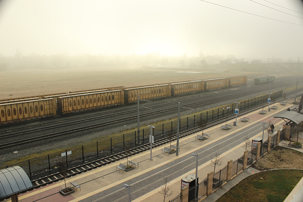 A light haze of fog covers the sun and hovers like a blanket over the light rail station by City College the morning of Wednesday, Feb. 6, 2013. | T.William Wallin | wallintony@yahoo.com
