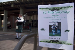 PICTURE OF THE DAY – 3/14/13 Professional bagpipe player Rob Duncan performs in the quad to observe St. Patrick's Day on Mar. 14. | Harold Williams | haroldwilliams2@yahoo.com