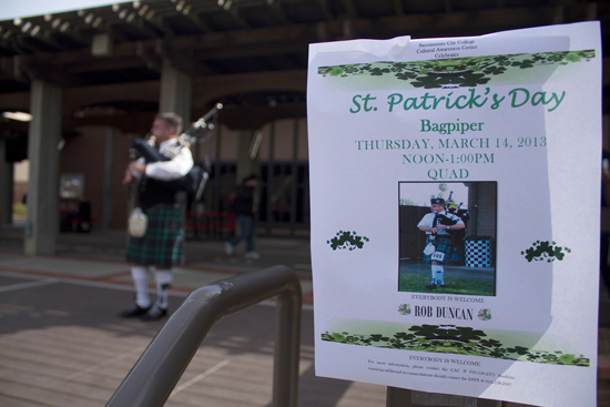 PICTURE OF THE DAY – 3/14/13 Professional bagpipe player Rob Duncan performs in the quad to observe St. Patrick's Day on Mar. 14.   Harold Williams   haroldwilliams2@yahoo.com