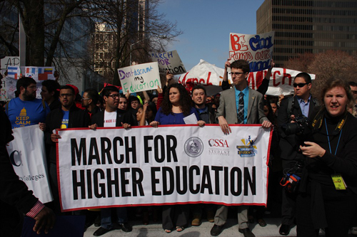 Students march to the state capitol to protest the cuts in education and proposed increases on Monday, March 4. |  Kelvin A. Sanders Sr. | ksanderssrexpress@gmail.com