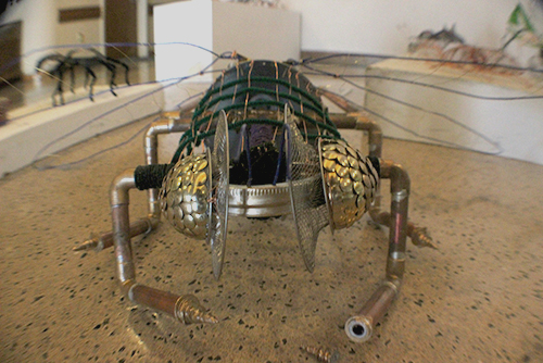 PICTURE OF THE DAY – 3/22/13 Students in ART 370, 3D Design, created sculptures out of various kinds of wire and other material inspired by the insect world and are now being displayed and sold in the LRC on March 22, 2013.    T.WIlliam Wallin   wallintony@yahoo.com