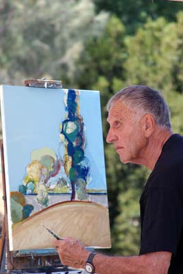 Gregory Kondos painting a landscape. Photo courtesy of http://www.gregkondos.org/