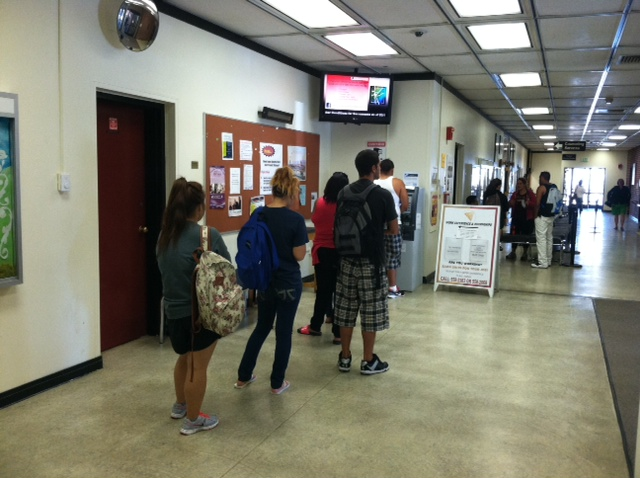 Disbursement day!  Students line up at the ATM in Rodda Hall North to get financial aid funds disbursed today  to City College Students.