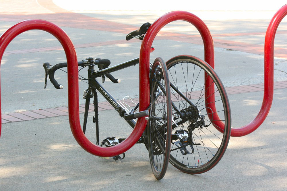 Going beyond traditional chain and lock tactics, some City College students take extra measures to deter bicycle thieves. Teri Barth// express.teri.barth@gmail.com
