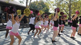 The cheer and dance team shows their support for breast cancer awareness month by wearing pink while performing for students in the City College quad.    Alina Castillo | alinacastilloexpress@gmail.com