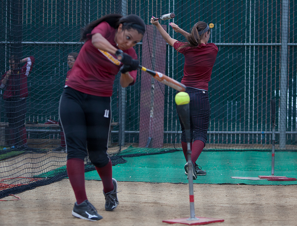 Panthers left fielder Lucia Lopez practices her hitting inside City College's Union Stadium batting cages Jan. 27 in preparation for the upcoming 2014 softball season. Dianne Rose | staff photographer | dianne.rose.express@gmail.com