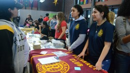 Monica Sepulveda, Communications Major, and Selena Jackson, Nursing Major, explain to students during City College's Club Day Feb. 27 why the Rotaract Club is a club not to overlook. Gabrielle Smith | Staff Photographer | gsmith.express@gmail.com