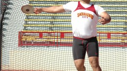 City College's track and field thrower Henry Sharoyan throws discus Feb. 22 during the SCC Opener 2014 at Hughes Stadium.