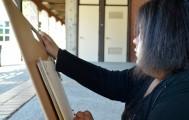 Art student at City College Kristine Bugge draws the landscape of the art court theatre quad Sept. 22 with a fine point sharpie for Art 302. Elizabeth Ramirez | Staff Photographer |  elizabethramirezexpress@gmail.com