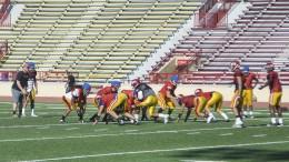 The City College football team runs through plays to prepare for the season. Emily Foley // Photo Editor // emmajfoley@gmail.com