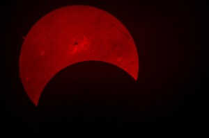 Sunspot and rare partial solar eclipse viewed on campus