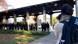 City College student Nia Johnson, communication major, photographs City College's Choral Music Ensemble Nov. 24 outside the Performing Arts Center building. Professor Paulson, conductor of the choral, hopes the photograph will bring attention to the Ensemble's vocal and choral concerts which started Nov. 20. The Ensembles's feature event will be Dec. 9 at the Main theater (PAC 150) with an admission cost of $10. For more information visit sccmusic.eventbrite.com.  Elizabeth Ramirez|staff photographer|elizabethramirezexpress@gmail.com