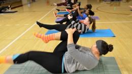 City College students do 'single leg' exercises during FITNS 324 inside the North Gym.  Elizabeth Ramirez|Staff Photographer|elizabethramirezexpress@gmail.com
