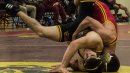 CIty College wrestler, Zach Augustine goes against Skyline College wrestler. Photo by Emily Foley | Photo Editor | emmajfoley@gmail.com