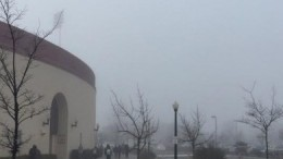 Hughes Stadium shrouded in fog on Tuesday morning. Photo by MJ Ongoy // Social Media Manager // thatswhatmjsaid@gmail.com