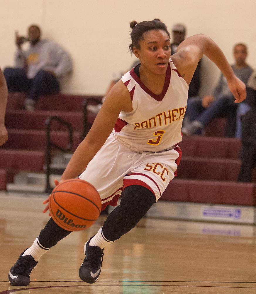 Rayelle Ross, City College sophomore guard, drives to the basket in the first half against Consumnes River College at the North Gym on Jan. 13th.   Dianne Rose/dianne.rose.express@gmail.com