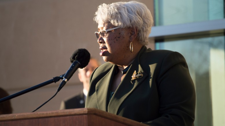 Sacramento City College President, Dr. Kathryn E Jeffery, speaking at the five-year celebration of the Sacramento City College West Sacramento Campus Jan 29. Luisa Morco   Staff Photographer   luisamorco.express@gmail.com
