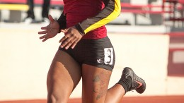 Vontreasa Beaver, City College sophomore, finished second overall in the 200 meter dash at the Pete Giachetti Invite at Hughes Stadium on Feb. 21st. Dianne Rose/dianne.rose.express@gmail.com