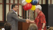 Dr. Albert Garcia (left) presenting City College Professor Thomas Miner at the SCC Retirement Reception in the Student Center April 29, 2015. Vanessa Nelson   Staff Photographer