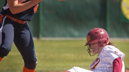 Kaiylyn Leffle, City College freshman catcher, slides into third after a triple, hit deep to left field, in the first game of a double hitter against West Valley College at The Yard on April 4th.  Dianne Rose/dianne.rose.express@gmail.com