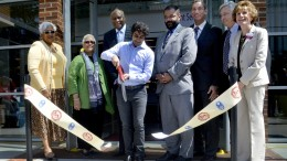 City College commemoration ceremony takes place today for the grand opening of the new student services, photography and journalism department May 8, 2015. President of the student senate, Sandeep Singh, cuts the ribbon to signify the official opening of the new building. Emily Foley   Photo Editor