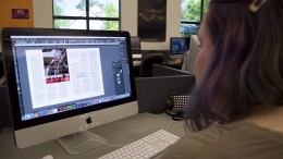 City College Graphics Communications student Liz McGuire, works on a six page magazine layout for Professor Don Button's In-design class in the Design Lab. Luisa Morco | Staff Photographer | luisamorco.express@gmail.com