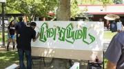 City College students watch artist paint a mural in Sac City quad, May 5, 2015. Vhonn Ryan Encarnacion | Staff photographer | ryanvhonn@gmail.com
