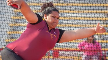Lovina Akauola, City College sophomore, finished first overall in the discus and the shot put at the Pete Giachetti Invite at Hughes Stadium on Feb. 21st.  Dianne Rose/dianne.rose.express@gmail.com