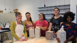 (From Left to Right) Georgia Graham, Rebecca Garcia, Barbara Spitzer, Alyssa Gillis and Angelee Museley are gearing up for the first class of ceramics Aug. 26, 2015.  Julie Jorgensen | Staff Photographer | j_jdj@yahoo.com