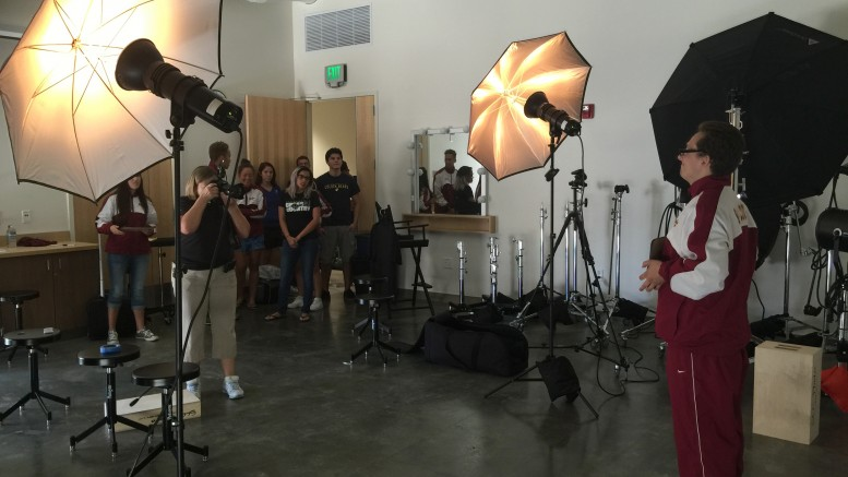 Photographer Dianne Rose, taking advatage of the new state of the art photography studio at City collge while taking profile images of the college's athletes on August 27, 2015