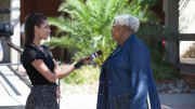 City College President Kathryn Jeffery answers questions the day after the Sept. 3 on-campus shooting from FOX40 reporter Ali Wolf. Vanessa Nelson | Photo Editor | vanessanelsonexpress@gmail.com