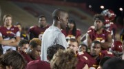 City College head coach Dannie Walker addresses his team after the loss against Modesto Junior College at Hughes Stadium on Sept. 26.  Photos by Dianne Rose