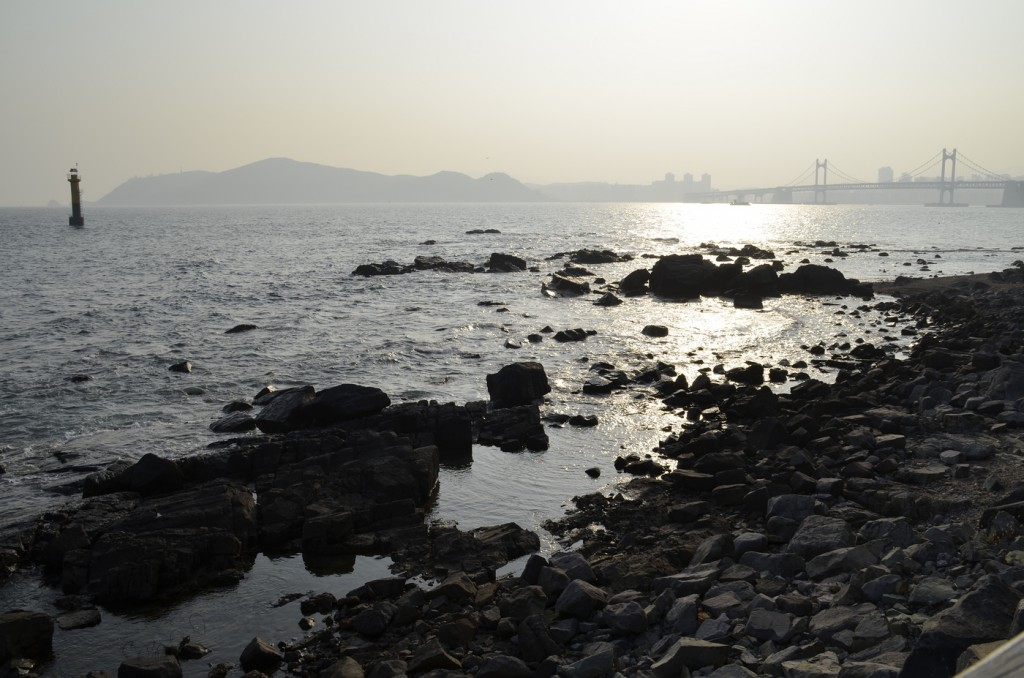 Different locations of Busan, South Korea can be viewed at the Dongbaek Island including Haeundae beach and the Gwangan Bridge. Photo by Elizabeth Ramirez.