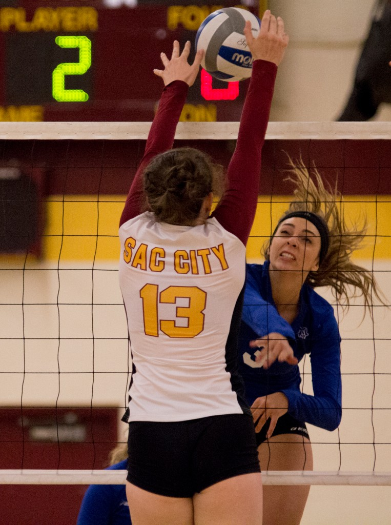 City College outside hitter Katie Haley goes up to get the block during the second set of the match against Modesto Junior College in the North Gym Nov. 3, 2015. (Photo: Kristopher Hooks   Editor in Chief   khooksexpress@gmail.com)