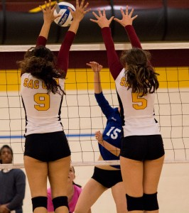 City College's Madyson Taylor and Kassidy Rauh go up for the block during the second set of the match against Modesto Junior College in the North Gym Nov. 3, 2015. (Photo: Kristopher Hooks | Editor in Chief | khooksexpress@gmail.com)