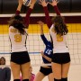 City College's Madyson Taylor and Kassidy Rauh go up for the block during the second set of the match against Modesto Junior College in the North Gym Nov. 3, 2015. (Photo: Kristopher Hooks   Editor in Chief   khooksexpress@gmail.com)