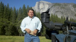 Rich Ibarra prepares to report from Yosemite National Park for KCRA 3, one of the local television stations he worked for. (Photo Courtesy: Rich Ibarra)