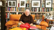 Russ Solomon, founder of Tower Records, sits on the couch in his home library. (Photo by Tammy Kaley)