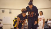 City College teammates Mikaila Royster (left) and Aleea Reese discuss the play during the fourth quarter of the game against San Francisco City College Nov. 21. Photo by Dianne Rose | dianne.rose.express@gmail.com
