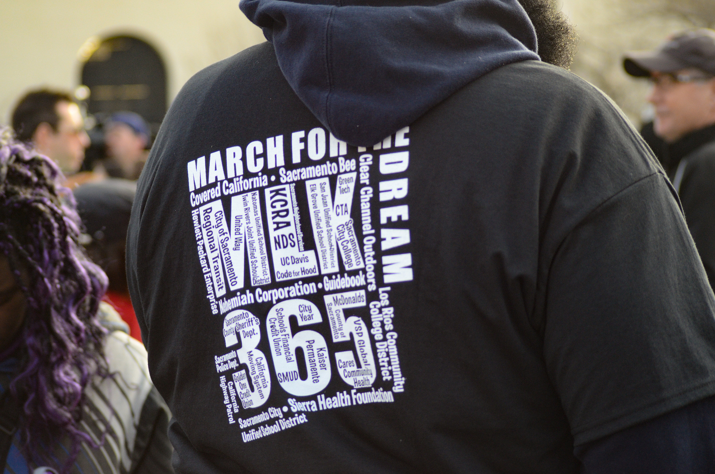 MLK March 1-18-16 at City College. Photo of this year's MLK 365 t-shirt.   Chris Williams, Staff Photographer. | Chriswexpress@gmail.com