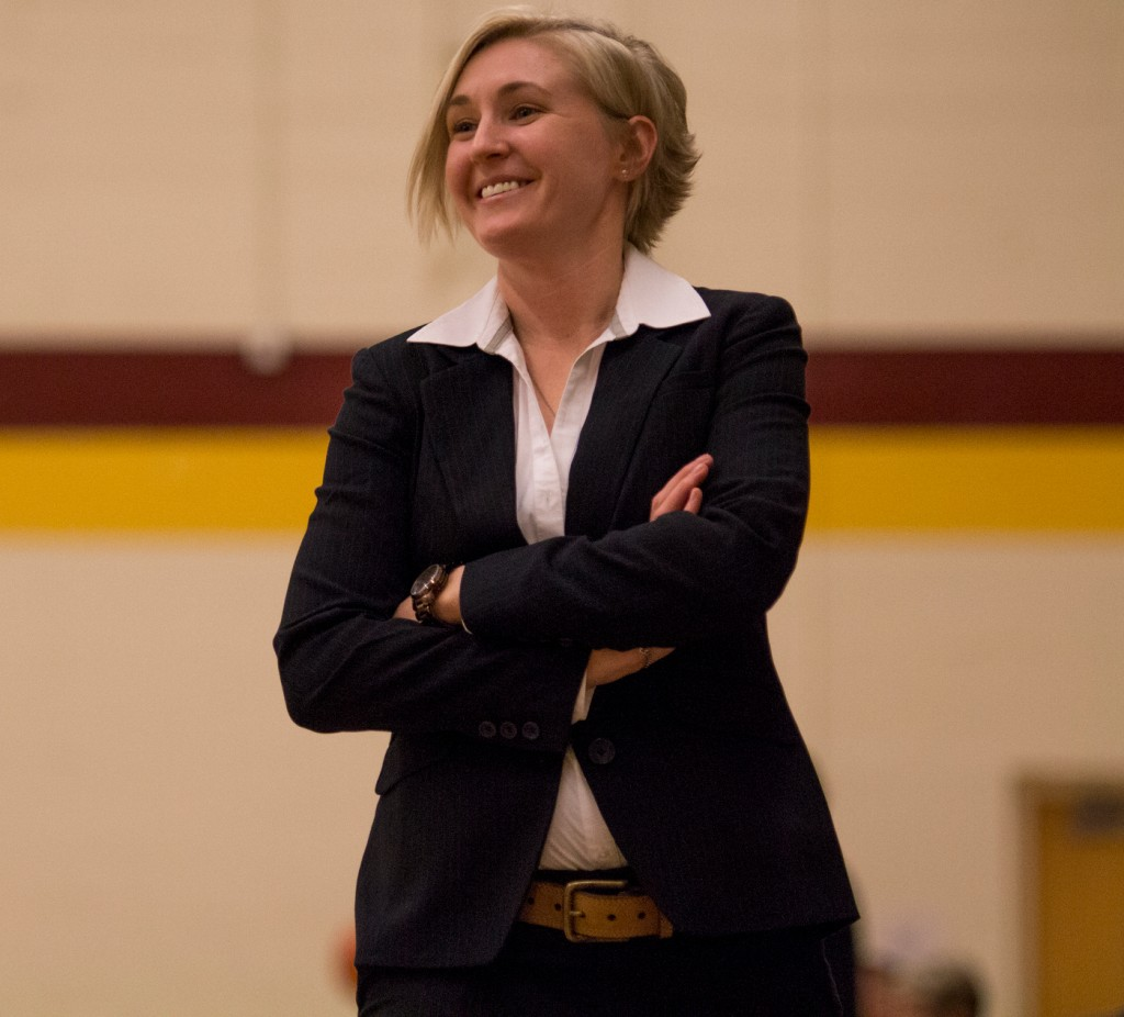 City College head coach Julia Allender is all smiles during the third quarter during the game against Sierra College in the North Gym Jan. 5, 2016. (Photo by: Kristopher Hooks | khooks3825@gmail.com)