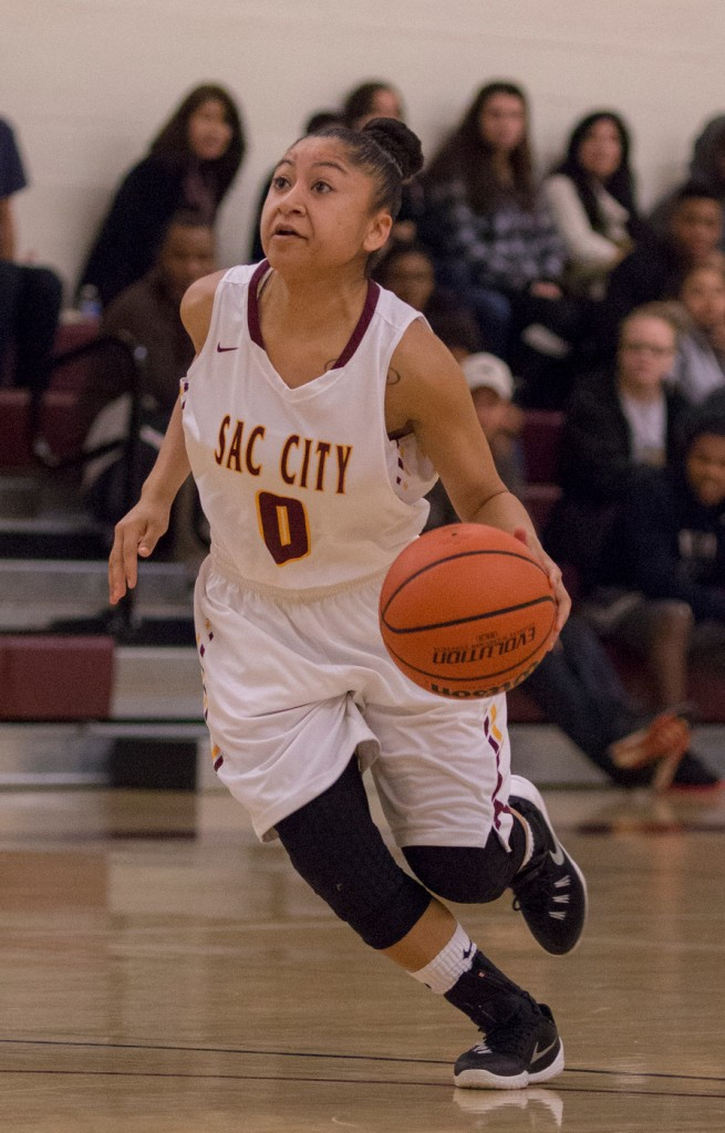City College guard Corina Tacardon drives to the basket for a layup during the game against Sierra College in the North Gym Jan. 5, 2016. (Photo by: Kristopher Hooks | khooks3825@gmail.com)