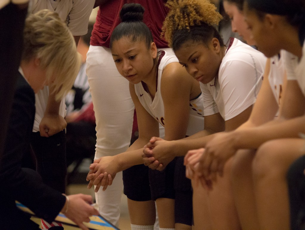 City College head coach Julia Allender draws up a play before the start of overtime during the game against Sierra College in the North Gym Jan. 5, 2016. (Photo by: Kristopher Hooks | khooks3825@gmail.com)